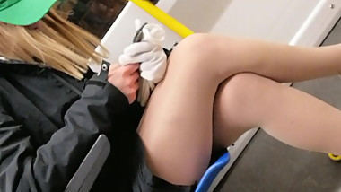 Young girl in nylons train