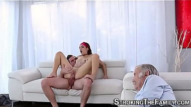 Teenager strokes and sucks cock