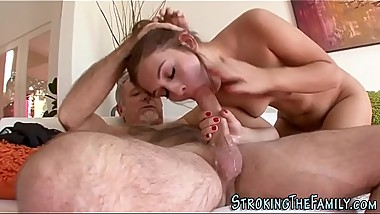 Stepdaughter rides pole
