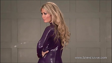 Purple latex blonde Charlottes high heels and tight latex