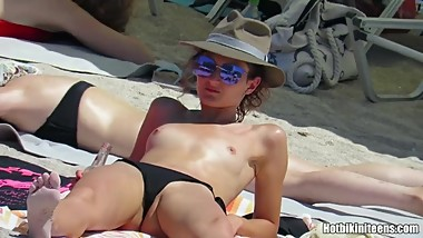 Topless Teens Sexy Thongs Tanning Naked beach Voyeur HD