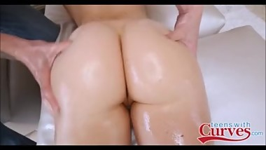 Sexy Big Ass White Teen Amy Summers Oiled Up And Fucked By Big Cock