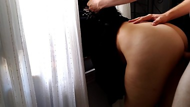 Beautiful Teenager gets Fucked Hard in front of The Window at Sunrise