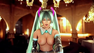 Topless Hatsune Miko singing. Japanese music video [full3d, HD]