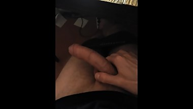 Younger brother jerks off on porn
