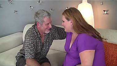 Busty girl does blowjob to her uncle #3-HD-version