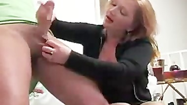 German Mature Woman Jerks off younger guy www.hdgermanporn.com