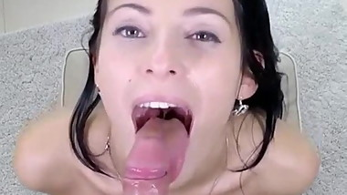 Sexy Brunette Teen Blows and Swallows