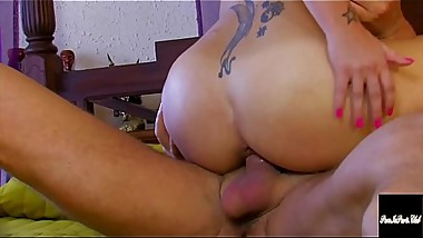 Petite Tattoo Babe Rides A Monster Cock