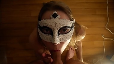 Trying on my mask - My first blowjob on a camera