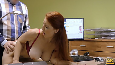 LOAN4K. Agent screws busty redhead because she really needs