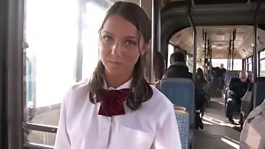 Ultra Cute high school girl gets fucked in a bus