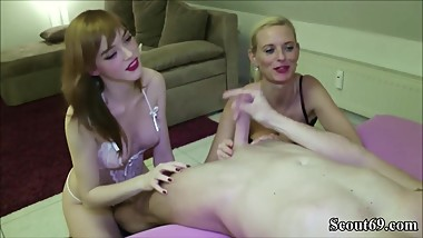 German Mom Teach Step-Daughter to Fuck and Join in 3some