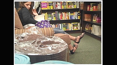 Candid Bookstore Feet in Strappy Sandals 2010