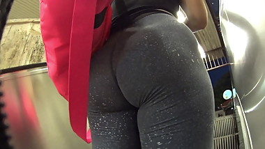 Teen Model walking after Gym with Hungy Ass in Spandex