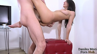 Extra small brunette gets crazy with a big cock stud!