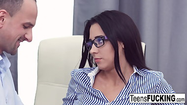 Busty teen Kseniya has anal sex at the office