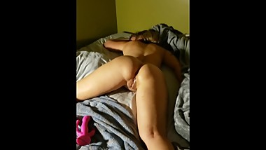 Sleeping Girl Has WET Pussy (wake up for toy play)