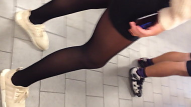 Candid legs Pantyhose and sneekers