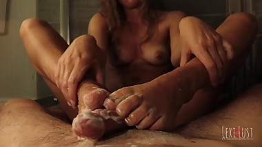 JOI and Dirty Talk in Slippery Footjob Busts on Feet